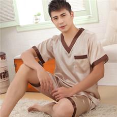 夏季大码真丝睡衣男短袖短裤套装绵绸薄款冰丝居家休闲丝绸家居服