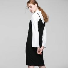 VeroModa2018年新品衬衫领吊带衬衫连衣裙女装 31717D503