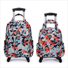 Cardan wheel waterproof printing and drawbar bag can be pulled back, foldable rod, backpack, small fresh bag and luggage.