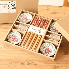 懒角落★古典餐具套装 陶瓷碟竹木筷12件餐具精致礼盒套装 35725