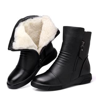 真皮妈妈棉鞋加绒女靴短靴女马丁靴冬鞋女棉靴毛毛鞋保暖羊毛靴子