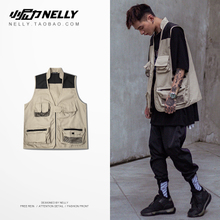 Spring and autumn trend INS oversize function hip-hop jacket, Multi Pocket photo vest, customized men and women