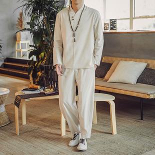 套装中国风男装亚麻棉麻禅意衣服休闲秋季佛系民族复古风长袖t恤