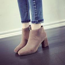 方头粗跟短靴女2016秋冬新款韩版磨砂真皮中跟踝靴加绒高跟女靴子