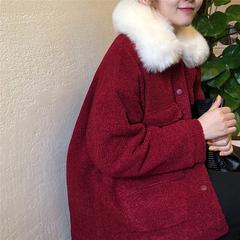 秋冬季韩版宽松女装大毛领仿羊羔毛棉服外套复古加厚长袖短款棉衣