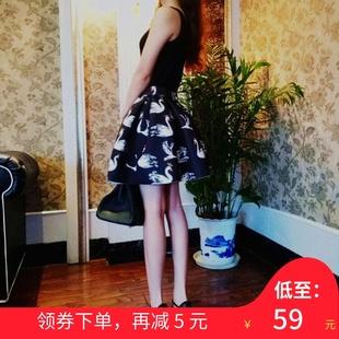半身裙显瘦春秋新款韩版高腰蓬蓬裙印花百褶裙子短裙女百搭太空棉