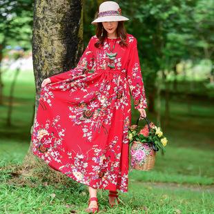 棉麻连衣裙女民族风女装春秋装新款大码印花圆领系带长袖长裙子