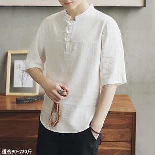 中国风棉麻t恤男装唐装中式短袖盘扣中袖加肥加大码亚麻夏季宽松