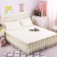 夏天蕾丝床裙式床罩单件公主风花边1.8米2x2.2床套双人防滑保护套