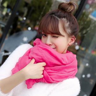 棉麻围巾女百搭纯色丝巾薄款春秋防晒棉麻韩版纱巾两用围巾女冬季