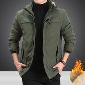 吉普盾2018秋冬季男士棉衣加绒加厚保暖上衣外套宽松大码冲锋棉服