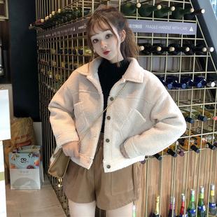 2018新款秋冬女装韩版BF风宽松仿羊羔毛棉衣短款学生开衫棉服外套