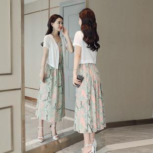 棉麻连衣裙两件套碎花亚麻套装中长款2018新款春装夏季背心裙子女