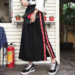 韩国韩版原宿风bf休闲A字裙侧条纹开叉中长款半身裙中裙学生裙子