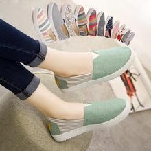 女鞋2019新款春季韩版厚底老北京布鞋女一脚蹬懒人帆布鞋百搭单鞋