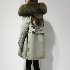 羽绒服女中长款2017冬季大码韩版时尚休闲大毛领显瘦加厚连帽外套