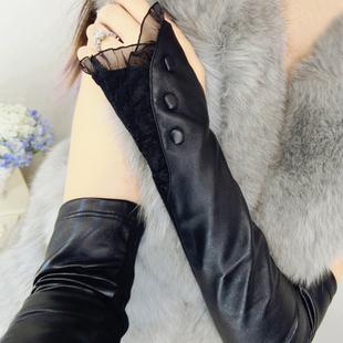 真皮手臂套袖套女秋冬长款露指过肘半指手套针织蕾丝皮袖筒假袖子