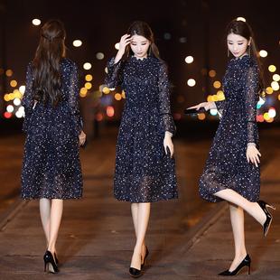 2018新款女装春装小碎花雪纺连衣裙女中长款长袖长裙气质打底裙子