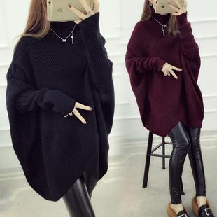 加肥加大码女装胖妹妹秋冬装韩版蝙蝠袖不规则高领毛衣外套200斤