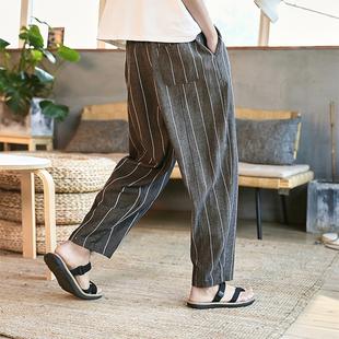 夏男亚麻休闲长裤竖细条纹直筒裤子宽松中国风日系阔腿直脚薄款
