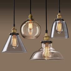 简约北欧美式乡村玻璃吊灯复古工业风餐客厅书房卧室酒吧台loft灯