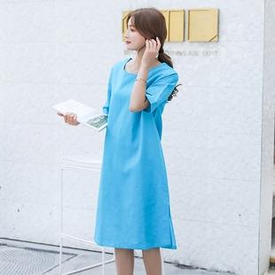 2019夏季新款女装棉麻短袖连衣裙宽松大码纯色文艺开叉亚麻衬衫裙