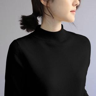 2018新款韩版秋冬女装半高领毛衣女修身打底衫长袖黑色中领针织衫