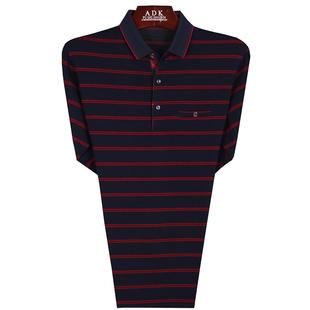 春秋装新款中年男士长袖t恤纯棉有口袋中老年爸爸装宽松休闲衣服