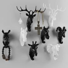 挂衣钩创意装 饰动物头挂钩鹿头衣帽钩壁饰树脂工艺品创意家居