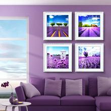 现代薰衣草装饰画欧式客厅卧室餐厅挂画家居饰品有框画壁画墙画