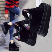 厚底内增高女鞋12cm高跟春季韩版松糕运动鞋百搭休闲鞋学生单鞋