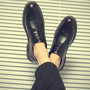布洛克英伦风韩版潮流潮鞋子春季休闲男士小皮鞋学生尖头百搭真皮