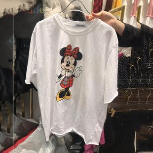 韩国东大门夏装新款字母印花磨毛纯棉网红同款ins米奇短袖T恤女潮