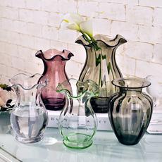 欧式迷你小浮雕玻璃花瓶透明手工花瓶创意水培绿萝台面花插花瓶