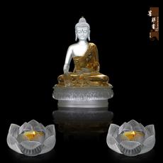 琉璃鎏金释迦摩尼佛像  琉璃七色莲花烛台酥油灯摆件 琉璃佛像