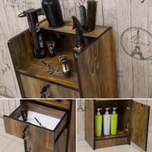 省空间美发店储物柜小柜子仿古带锁发廊储蓄镜台多用小号创意商业