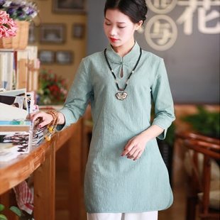 中式棉麻旗袍唐装女改良时尚中国风民族风中长款上衣禅茶服春夏款