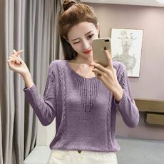 2017秋季新款韩版长袖套头针织衫女装短款镂空破洞毛衣女早秋上衣