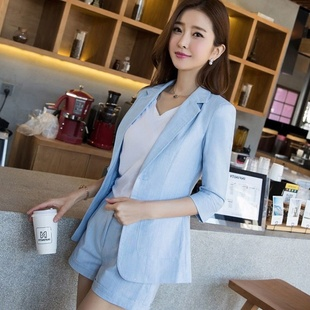 新款时尚棉麻小西装外套女短袖短裤三件套装女夏职业女装韩版学生
