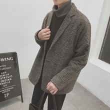 外套男韩版 冬季原宿风复古加棉厚毛呢料西装 宽松休闲小西服呢子衣