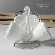 【天天特价】欧式陶瓷咖啡杯碟套装浮雕2件套茶具杯碟配架子送勺