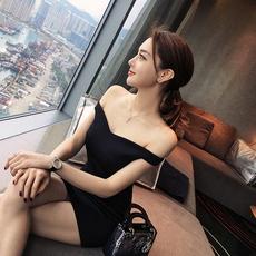 夏季新款黑色露肩性感一字领连衣裙女修身显瘦名媛风A字裙礼服