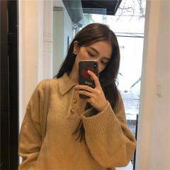原宿chic秋冬加肥加大码韩国宽松慵懒风POLO领套头毛衣女装针织衫