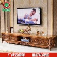 欧式大理石面电视柜客厅实木茶几组合仿古色原木雕花地柜美式家具
