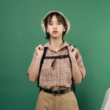 Zhi Xiaoya's original homemade summer new style Japanese literature and art teenager boyfriend style short-sleeved checked shirt woman