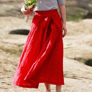 松间原创设计新品文艺气质红色真丝亚麻暗条纹大摆百褶长裙半身裙真丝半身裙