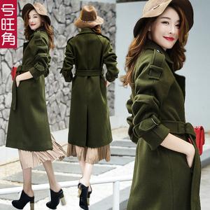 2016冬装新款英伦军绿色羊毛呢外套女中长款加厚过膝修身呢子大衣羊绒大衣