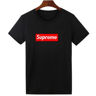 潮牌新款Supreme男女短袖T恤韩版夏季纯棉圆领宽松衣服半袖打底衫