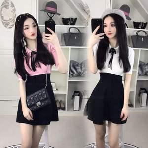 清纯网络yy主播夏季直播可爱衣服装饰学生性感少女装甜美连衣裙X