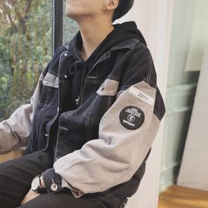 春秋季日系男士外套韩版潮流学生宽松百搭青少年帅气撞色港风夹克男士外套